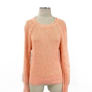 Free People- Orange Marled Linen Blend Sweater